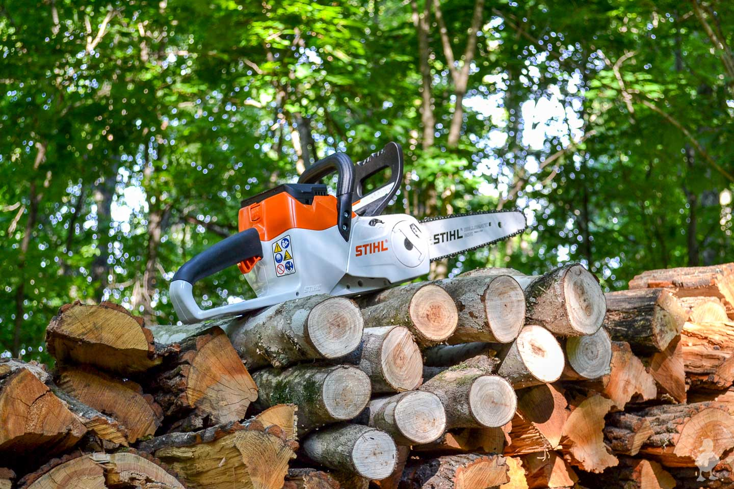 chainsaw sitting on top of cut up logs